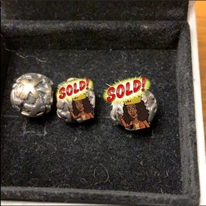 Genuine Pandora two-tone letter charms X,R/A